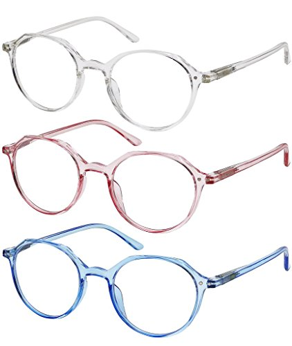 Reading Glasses 3 Pack Womens Fashion Readers Set of Crystal, Clear Pink, and Clear Blue