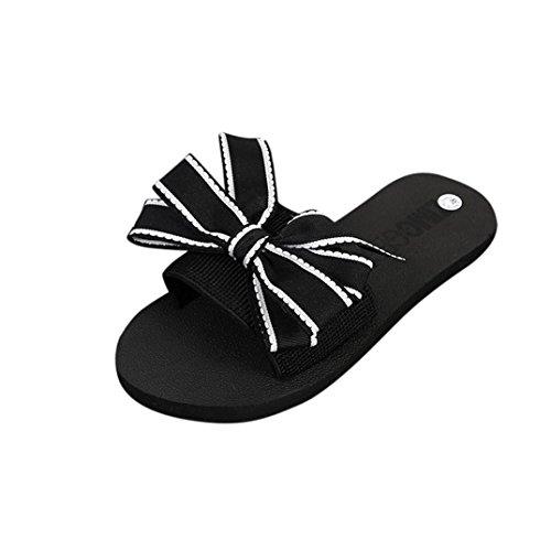 Digood Zapatillas Para Mujeres, Damas Adolescentes Chicas Solid Bowknot Decor Open Toe Flats Sandals Zapatos Black
