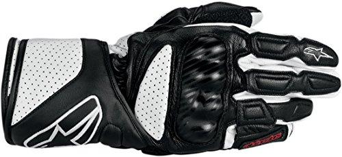 Alpinestars SP-8 Men's Leather Street Racing Motorcycle Gloves - Black/White / X-Large