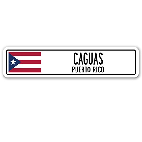 Caguas, Puerto RICO Street Sign Puerto Rican American Flag City Country Gift