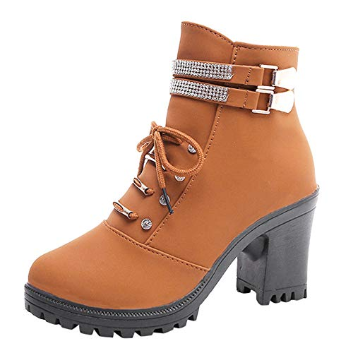 Super Stiefel Outdoor Schnalle Herbst Frauen Spitzschuh Party Stiefeletten Unterhaltung Aushöhlen High Freizeit High Heel Braun Quadratische Junjie Strass Martin Winter IU75wxq5nz