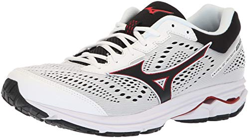 Mizuno Men's Wave Rider 22 Running Shoe, White/red, 10 D US