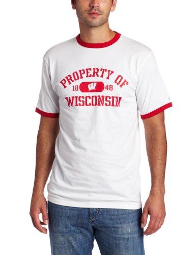 NCAA Wisconsin Badgers Ringer T-Shirt, White/Red, Medium ()