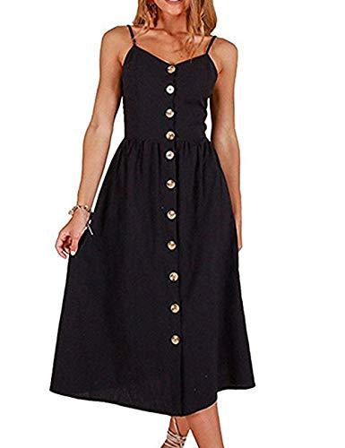 Solid Dress for Women Slip Cute Casual Beach Midi Day Black Dress Black XXL ()
