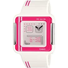 Casio Women's Quartz Watch with White Dial Analogue - Digital Display and White Resin Strap LCF-21-4DR