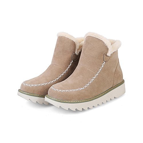 Rubber Beige Quilted Closure Suede Resistant 1TO9 Boots Snow Heel Boots Road Lining Warm Water No No Womens MNS02492 Bootie Suede Boots 8qw8OR