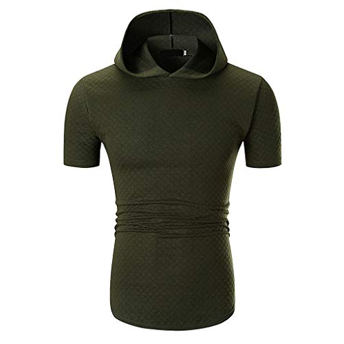 b439a5ed49158b iHPH7 T-Shirt Men Short Sleeve Casual Fitted Lightweight Crew Neck  Sweatshirts for Men Fashion Casual Solid Color Hoodie with Short Sleeve  T-Shirt Top ...