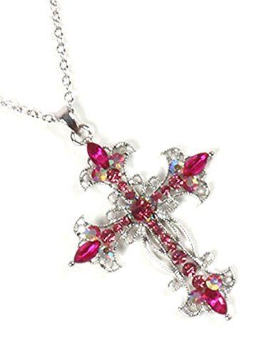 FB Jewels Filigree Metal Cross Pendant Color Crystal Stone Cutout 16 Inch Long Chain Necklace ()