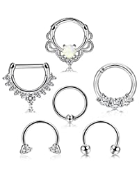 Subiceto 6PCS 16G 316L Stainless Steel Septum Hoop Nose Ring 8MM Horseshoe Rings Cartilage Clicker Piercing Jewelry 3 Colors