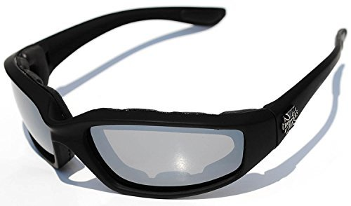 Night Driving Riding Padded Motorcycle Glasses 011 Black Frame with Yellow Lenses (Black - Mirror Lens)