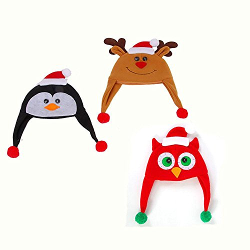 [3 Pack - Holiday Christmas Hats - 3 Assorted Designs Penguin, Reindeer, Owl] (Crazy Christmas Hats)