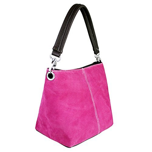 Small Italian Bucket Fuschia Suede Genuine Single Hobo Womens Strap Leather Slouch Bag Shoulder pwCqyE