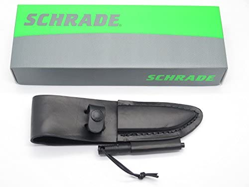 "Schrade Black Leather Fixed Blade Fits Most 3-4/"" Knives Sheath w// Ferro Rod LS56"