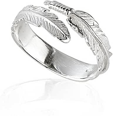 925 Sterling Silver Feather Adjustable Ring
