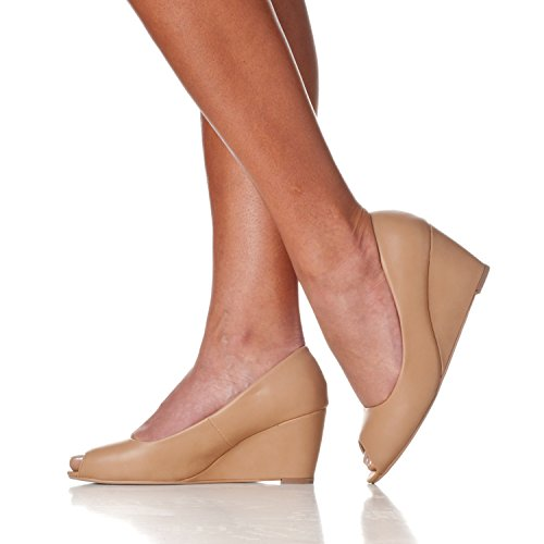 Addie Riverberry Height Peep Mid Wedge Women's Taupe Toe Pu Pumps RRgqFT