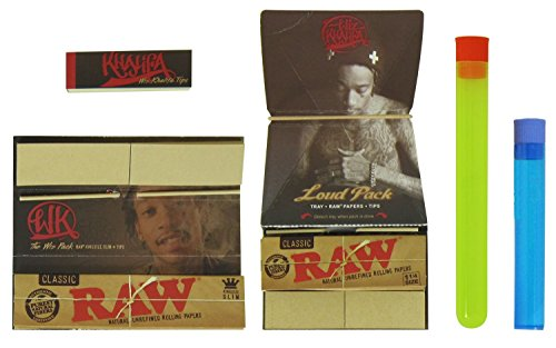 Bundle - 5 Items - Wiz Khalifa and RAW Rolling Papers - Loud Pack 1 1/4, Wiz King Size, Tips and Beamer Doob Tubes