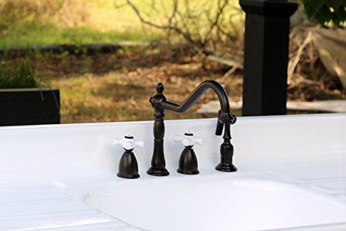 - Widespread Antique Inspired Oil Rubbed Bronze Kitchen Sink Bridge Faucet Porcelain Cross Handles KB1795PXBS