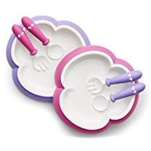 BabyBjorn Baby Plate, Spoon and Fork-Pink/Purple, 2 Pack