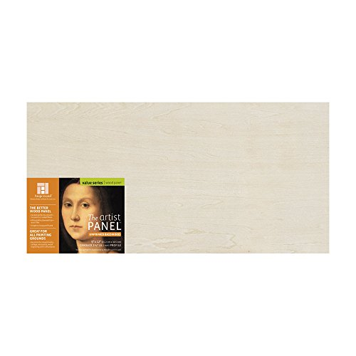 Ampersand Art Supply Unprimed Basswood Artist Panel 1-1/2'' Cradled Profile, 6''x12'' by Ampersand Art Supply