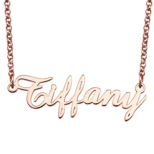 EV.YI Jewels Stainless Steel Plated Customized Personalized Custom Rose Gold Name Necklace Gift for - Initial Tiffany Pendant Style