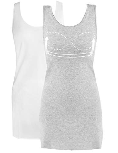 (Womens Camisole Tanks Dress with Built in Bra Sleeveless Dress Daily Simple Mini Dresses 2 Pack Grey and White M)