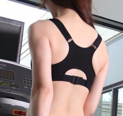 Yall deportes de impacto de alta sujetador de cremallera lencería de sostén de banda ancha Black