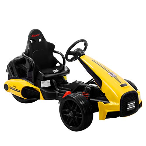 Uenjoy Electric Go Kart 12V Ride On Car Racing Car w/Gas Pedal, 2 Speed, Spring Suspension, Adjustable Steering Wheel, Yellow