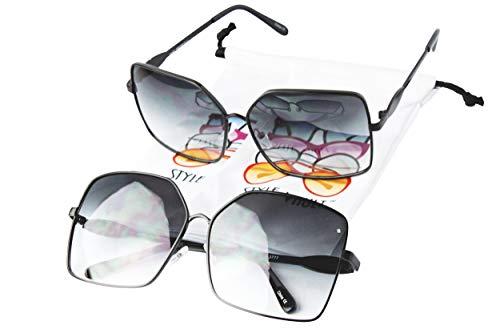 WM506-vp Butterfly Cateye Oversized Polygon Sunglasses (2-pack Black-smoked S1812V, ()