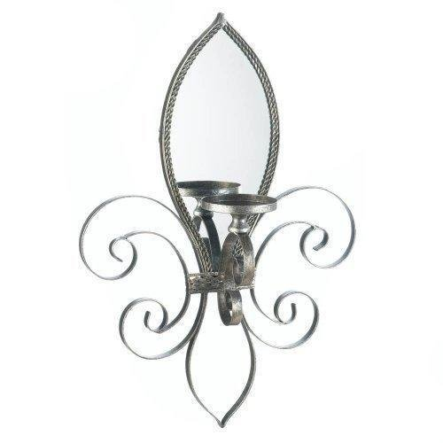 Fleur-De-Lis-Mirrored Wall Sconce