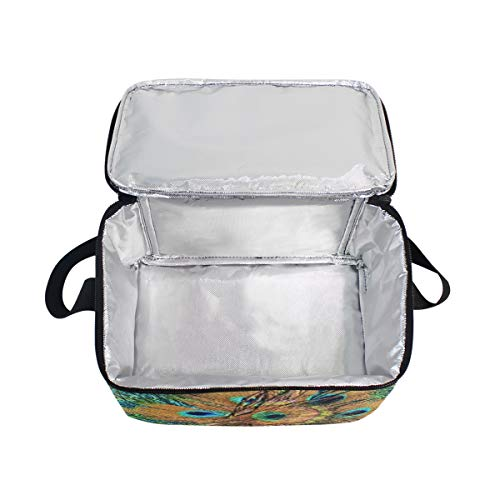 de para picnic pavo real con hombro de almuerzo fiambrera correa circulares de cierre plumas de Bolsa wHvOqFH