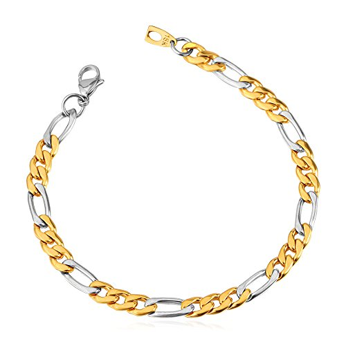 U7 316L Stainless Steel Based Figaro Chain Link Bracelet 21CM Long, 5mm 9mm 12mm Wide (Gold & Silver Mixed (8mm Wide))