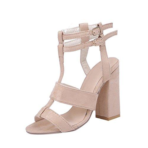 Ouneed Moda Mujer Tacones Altos Sandalias Tobillo Bloque Partido Abierto Zapatos de Dedo del Pie Beige