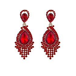 Full Rhinestone Teardrop Crystal Chandelier Earrings