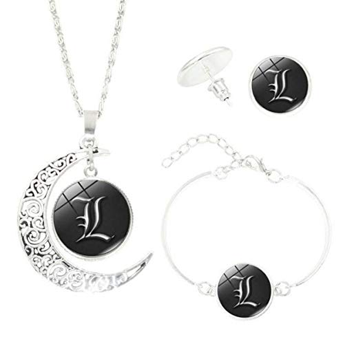 Onlyfo Death Note Letter L Pattern Time Gem Cabochon with Crescent Moon Pendant Necklace Bracelet Earrings Jewelry Sets,Death Note Jewelry Sets for Boys,Girls (Style D)