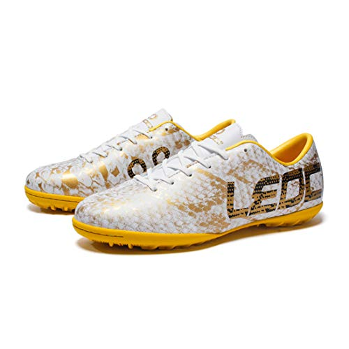 Soccer Shoes Lichunmei Man Non-Slip Training Shoes Youth TF Sports Soccer Sneakers-White -
