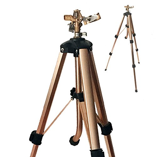 A5013D 2-PC Brass Impact Tripod Sprinkler with Heavy Duty Brass Impact Sprinkler Up to 5000 SQF Coverage on Premium Tripod Adjustable from 25 to 48 Inch ()