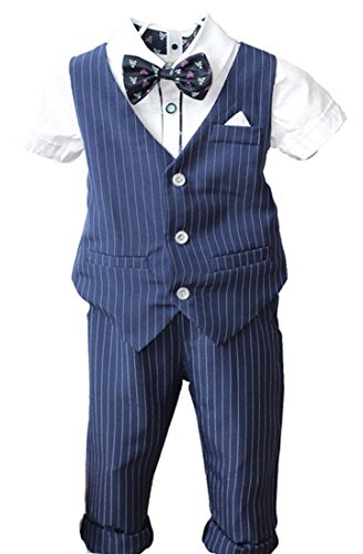 (YUFAN Boys Pinstripe Vest Set Vest + Pants + Shirt 3 Pieces Black & Blue 2 Colors (5, Blue(Short Sleeve)))