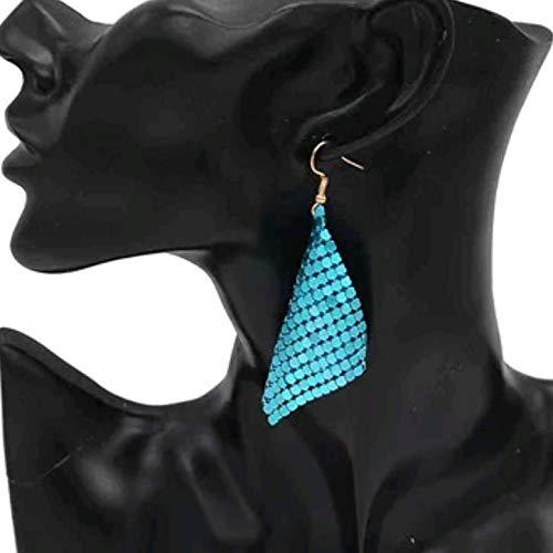 Dyad Jewellery Bohemian Shimmer Sequin Scales Metal Mesh Sheet Drape Drop Dangle Earrings Available in Metallic Turquoise Blue