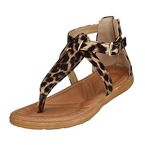 EROUGE Women\'s Summer Beach Gladiator Flat Sandals Beach Open Toe Ankle Summer Beach Thongs Sandals (Leopard,10 M US)