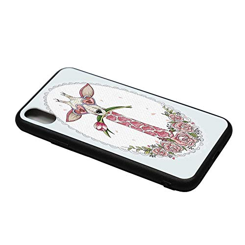 (Valentine Printing Compatible with iPhone X Case,Cute Hipster Giraffe with Tulip and Heart Shaped Glasses Vintage Frame for iPhone X Case,iPhone X)