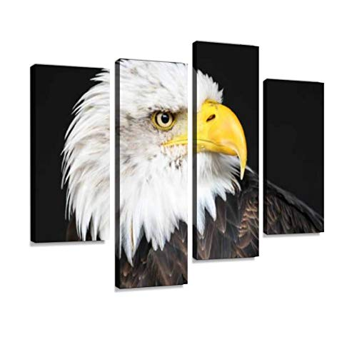 Canvas Wall Art Painting Pictures Bald Eagle Portrait Modern Artwork Framed Posters for Living Room Ready to Hang Home Decor - Eagle Bald Portrait