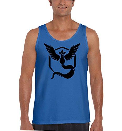 NineTeen Pokemon Go Team Mystic Black Logo Mens Fashion Tank Top (Medium, (Blue Team Logo T-shirt)