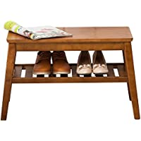 Shoes Rack Bench NNEWVANTE Free Standing Organizaing Rack Pure Wood Sturdy Shoes Storage Rack, 85cm Walnut