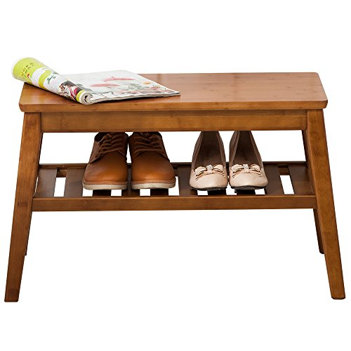 NNEWVANTE Shoes Rack Bench Free Standing Wearing Shoes Bench Storage Shelf Side End Table Entryway Bathroom Living Room Pure Wood 65cm Walnut