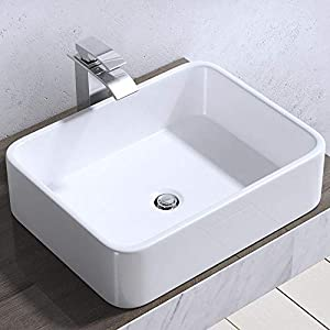 Durovin Bathrooms Ceramic Wash Basin – Counter Top Mounted Vessel – Rectangular Washing Bowl Upright Wall Flat Bottom