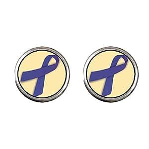 Chicforest Silver Plated dark purple Aids Ribbon Photo Stud Earrings 10mm Diameter