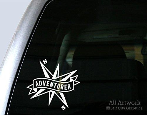 - Salt City Graphics Adventurer Decal, Compass Sticker - Explorer, Wanderer, Traveler, Be Free - Car Decal, Bumper Sticker (5 inches Wide, White)