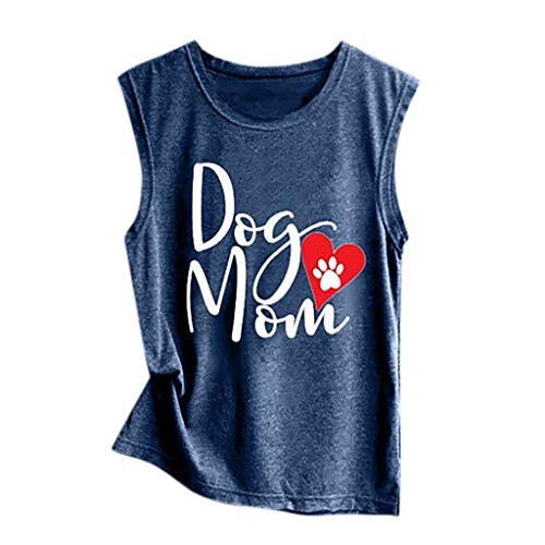 TWGONE Loose Tank Tops for Women Summer Dog Mom Print Vest Casual Sleeveless Sport Pullover (Medium,Navy) ()