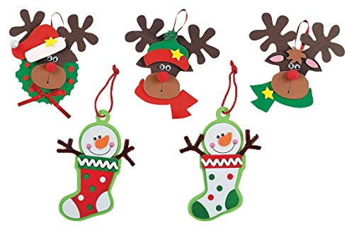 Reindeer and Snowman Christmas Ornament Kits, Set of 24 Christmas Crafts for Kids
