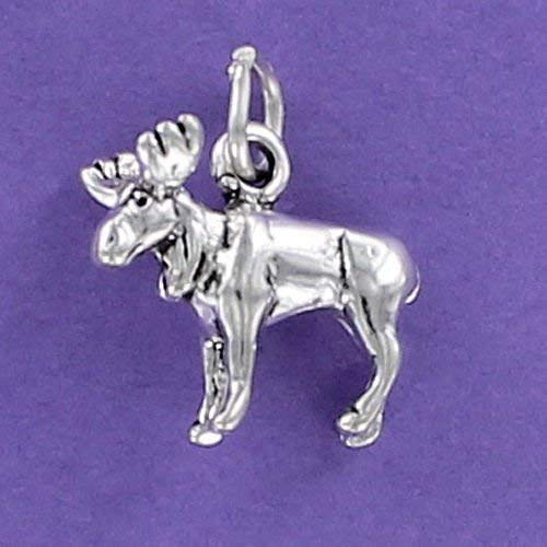 Moose Charm Sterling Silver 925 for Bracelet Antlers Caribou Elk Deer Alaska 3D Jewelry Making Supply, Pendant, Charms, Bracelet, DIY Crafting by Wholesale Charms